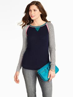 Talbots - Waffle-Stitched Colorblocked Sweater | New Arrivals |