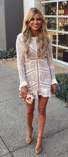 #fall #outfits women's white lace long-sleeve mini dress