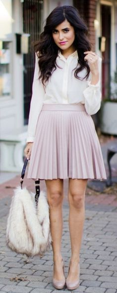 pink pleated mini skirt ...