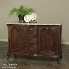 Antique Furniture | Antique Buffets and Sideboards | Country French Buffets | Country French Marble Top Buffet | www.inessa.com