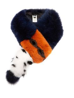 Fendi Contrasting fox-fur scarf (€2.055) ❤ liked on Polyvore featuring  accessories 378493356b5