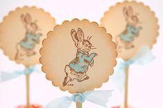 Peter Rabbit Cupcake Toppers / Food Picks Baby Shower Birthday Vintage Stamped You Choose Ribbon. $19.00, via Etsy.