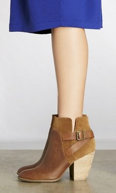 Cognac leather and suede booties with cool side buckles