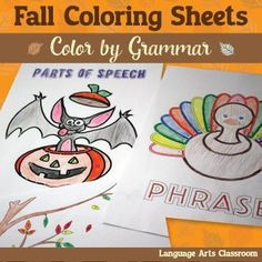 Grammar Coloring Sheet Bundle for Fall: study the parts of speech, parts of a sentence, phrases, and types of sentences with this fun color by grammar set!