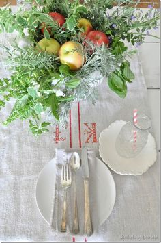 Simple early fall table setting, rustic, French, autumn, grainsack, Apple inspired for Farmhouse Friday at Buckets of Burlap