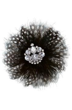Plume Brooch -- Black & White $20.40 Sale! #brooch