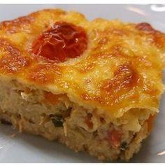 Torta de frango low carb Receita 3 ovos inteiros 1/2 cebola 1 xíc de cream cheese ou requeijão 1 e 1/2 xic de couve flor cozida 1 xíc de brócolis cozida 1 xíc de cenoura cozida em cubos 2 xíc de frango cozido desfiado 1 colher café bem cheia de sal Parmesão ralado ou fatias de queijo 10 tomates cereja para decorar(opcional) Salsinha Modo de preparo Bata no liquidificador os 3 ovos, couve flor, cebola, sal e cream cheese até ficar um creme. Reserve Em outro recipiente misture o frango com...