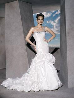 Classic Taffeta One-shoulder Wedding Dress Embellished with Crystal Beading
