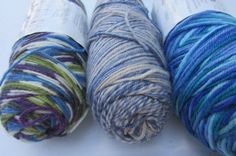 Lang Jawoll Superwash Yarn Vintage Color Blues Mixed Lot 3sk Sock Label missing #Lang #pliedsock