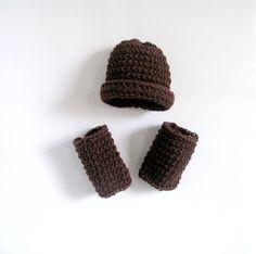 SET Baby Boy Hat and Leg WarmersNewborn Baby Boy by recyclingroom, $30.00