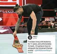 Roman Reigns relinquishes the Universal Title to battle his returning leukemia.Raw won't be the same without you Roman.Hope you get well soon 😭 Rounda Rousey, Wwe Birthday, Wwe Raw, Catch, Roman Reings, Braun Strowman, Sheamus, Wwe Roman Reigns, Brock Lesnar