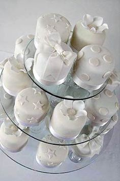 Rolled fondant mini white individual wedding cakes - from