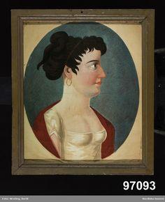 Porträtt, kvinna i profil, bröstbild.
