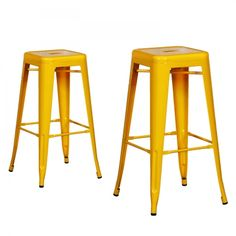 Joveco Yellow Sheet Metal Frame Tolix Style Bar Stool - Set of 2 - JCH39-Y | Jovecoinc.com