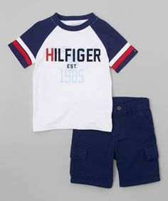 Look what I found on #zulily! Navy & White 'Hilfiger' Tee & Shorts - Infant & Toddler #zulilyfinds