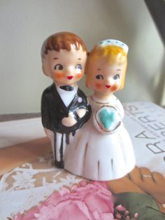 Vintage 1940's  Lefton Porcelain Bride and by GrannyGlamDecor