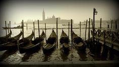 Gondolas at the mouth of the Grand Canal in Venice, Italy (Feb 2012) - Photo taken by BradJill