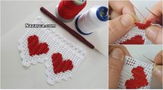 2 Renk ile yapılan Kalplerin Kırmızı İp Beyaz olan yerlerin Beyaz İple yapıldığı İp Yürütmeli Kalpli Desenli Havlu Ucu Kalpli Dantel Kenarı Videolu Tarifi. İlk baktığımda Derya hanımın daha önce Havlu Danteli Boyama tekniği adlı videosunda gösterdiği gibi Kalpli alanların… Continue Reading → Filet Crochet, Crochet Borders, Crochet Flower Patterns, Crochet Flowers, Crochet Lace, Crochet Stitches, Crochet Hooks, Romanian Lace, Crochet Bedspread