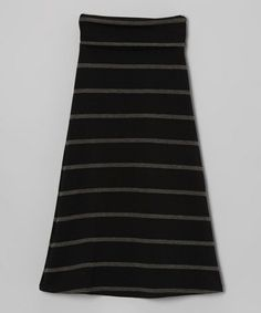 Black & Charcoal Stripe Fold-Over Maxi Skirt