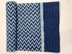 Cotton Indigo Dabu Print Kantha Quilt Bed Spread by Rajsthanart