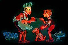 Neon Museum, chef, boy & dog
