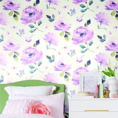 Watercolor Blooms. Young at Heart book by York Wallcoverings.