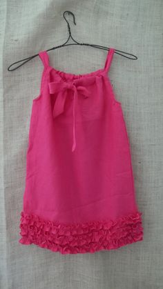 vintage inspired hot pink linen rustic ruffle pillow case dress.
