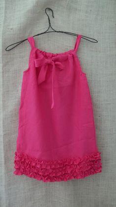 vintage inspired hot pink linen rustic ruffle pillow case dress