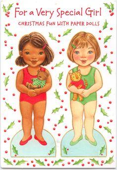 "Christmas card paper dolls - Hallmark card number X 291-9 10-15 ""These Holiday Dollies are coming to stay! They've brought lots of clothes, and they're ready to play! Please help them DRESS UP for wherever they go — For SKATING or PARTIES,  or out in the SNOW.  They'll love making stories and playing ""pretend"" with someone AS SPECIAL AS YOU for their friend! Have a Very Merry Christmas!"" black / African-American / person of color"