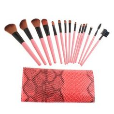 15PCS Makeup Brushes Set Eyebrow Comb with Roll up Snake Pattern Bag by TOMTOP. $11.27. High quality and gorgeous aluminium brush handle.. Adopts high quality Nylon hair which provides superb ability to hold powder, soft and pleasing for your skin.. Ideal for professionals salon or DIY users.. Gorgeous and soft roll up snake pattern leather bag which is easy and convenient to carry, makes you elegant and attractive.. Total 15 pink brushes for facial makeup: Foundation Br...