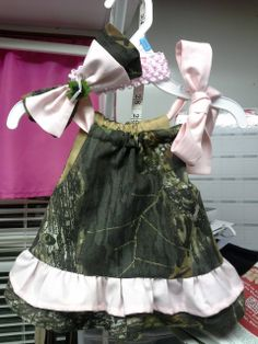 infant camo and pink dress with matching headband and bow