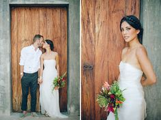 Organza strapless dress.  Intimate Mexico Wedding: Mila + Shawn  Intimate Mexico Wedding: Mila + Shawn photography: Jillian Mitchell // venue, catering + cake: Verana Yelapa, Mexico // wedding dress: Thai Nguyen Couture // hairpieces: coral found at Verana // shoes: Nicholas Kirkwood // groom suit: Dior Homme //