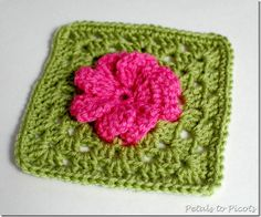 Gerber Daisy Granny Square - Petals to Picots