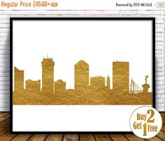Wichita Skyline Wichita Kansas City Art Print by GoldArtPrint Kansas Usa, Kansas City, Cube Decor, Gold Wall Decor, Gold Walls, Office Wall Art, Free Prints, City Art, String Art