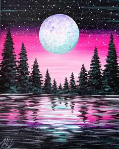 Browse our upcoming painting classes and events at Bricktown Pinot's Palette! Reserve your seat for the best paint and sip experience today! Simple Canvas Paintings, Diy Canvas Art, Moon Painting, Forest Painting, Fantasy Art Landscapes, Cool Art Drawings, Art Projects, Painting Parties, Artwork