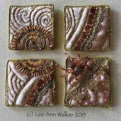 Lee Ann Walker, Sunflower Spider, velvet, asst trim and beads. Felt Fabric, Fabric Art, Fabric Decor, Fabric Brooch, Textile Fiber Art, Textile Artists, Textile Jewelry, Fabric Jewelry, Lee Ann