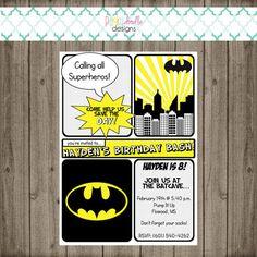 Batman Invitation - Batman Birthday Party - Superhero Invitation - Superhero Birthday Party Batman Invitation Batman Birthday Party by punkydoodlekids Batman Birthday, Batman Party, Superhero Birthday Party, Birthday Bash, Superhero Invitations, Pump It Up, Doodle Designs, Invitation Wording, Kid Names