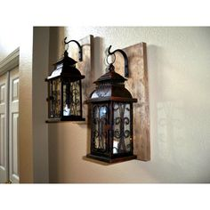 Lantern Set Wall Decor Bathroom Decor Housewarming Gift Wrought Iron... ($58) ❤ liked on Polyvore featuring home, home decor, candles & candleholders, black, candles & holders, home & living, home décor, black hand black lantern, wrought iron candle holders and rustic wood home decor
