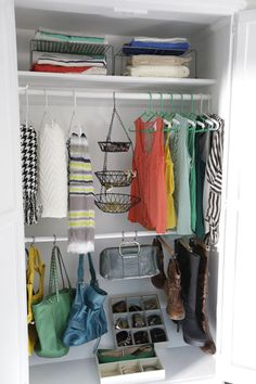 Closet Hacks! Maximize your closet space using these tips: store scarves with shower curtain rings, wrap plastic hangers with pipe cleaners for no-slip hangers, use a tiered metal hanger to store accessories, use a partition sock organizer for ties and belts, and more  http://blog.diynetwork.com/maderemade/2014/05/07/spring-cleaning-fever-diy-customized-closets/?soc=pinterest
