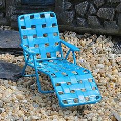 Blue Web Lounger. www.teeliesfairygarden.com . . . Believe it or not, fairies are avid sunbathers. This blue web lounger can be their favorite spot when they want to soak up some rays. #fairychair