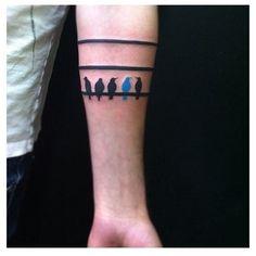 Pretty Stripe and Birds Arm Band Tattoos