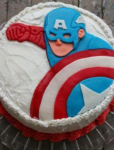 V e g a n D a d: Vanilla Cake for Tadpole's birthday! Captain America Birthday Cake, Captain America Party, 3rd Birthday Cakes, 5th Birthday Party Ideas, Baby Birthday, Basic Vanilla Cake Recipe, Sully Cake, Superman, Vegan Cake
