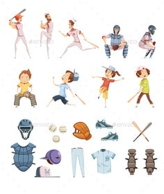Baseball icons set in cartoon retro style with playing men and kids sports equipment isolated vector illustration. Editable EPS an