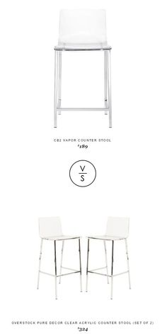@cb2pins Vapor Counter Stool $189 Vs @overstock Pure Decor Clear Acrylic Counter Stool (Set Of 2) $324