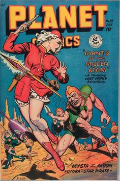 Cover scan of Planet Comics, No. Fiction House, July Cover by Joe Doolin. Science Fiction Magazines, Science Fiction Art, Pulp Fiction, Sci Fi Comics, Bd Comics, Comic Book Covers, Comic Books Art, Planet Comics, Arte Sci Fi