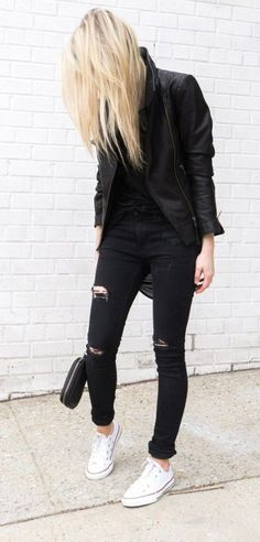 all black + white sneakers.