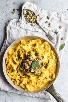 Vegan Pumpkin Fettuccine Alfredo With Sage & Mushrooms #healthyeating #veganmeal #pumpkinrecipe