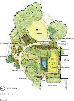 Dirtworks Landscape Architecture | Cleveland Botanical Garden - Elizabeth and Nona Evans Restorative Gardens | Hand rendered plan