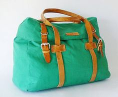 Authentic Vintage Dooney  Bourke Canvas and Vachetta Leather Duffle Bag Made in Italy ($145.00) - Svpply