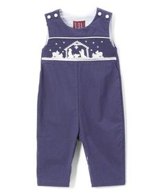 a84f483a485 Lil Cactus Dark Blue Nativity Smocked Overalls - Infant   Toddler